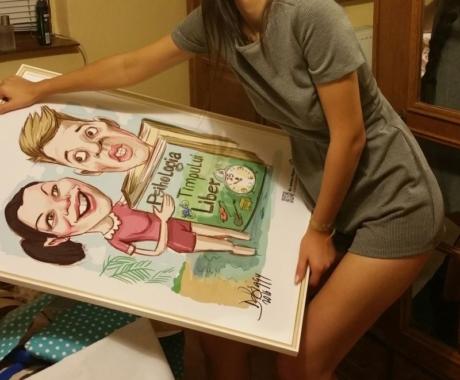 Caricatura digitala cu imprimare pe canvas