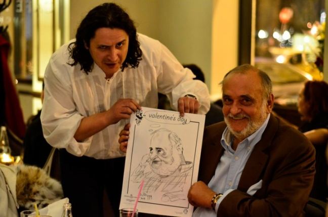 Caricatura Dinu Patriciu petrecere