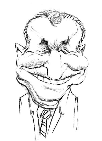 Caricatura Ion Iliescu - Zambet