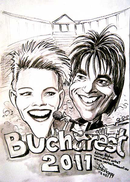 Caricatura concert Roxette - Bucuresti