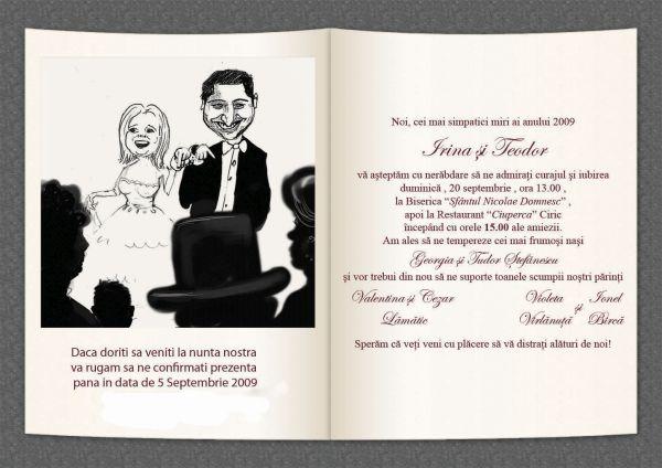 Caricaturi pe invitatia de nunta, Iasi