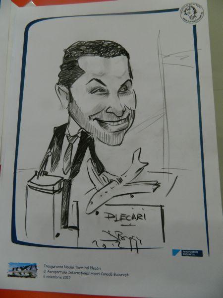 Caricaturi la inaugurarea noului terminal plecari al aeroportului Henri Coanda, Bucuresti