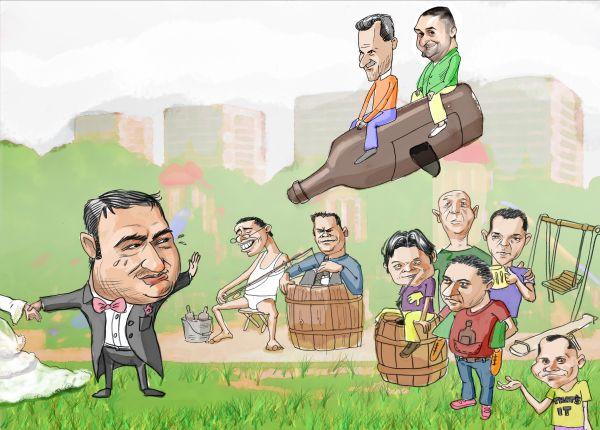 caricatura la comanda de grup