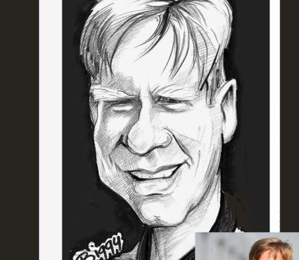 Caricatura Steven van Groningen, director general Raiffeisen Bank