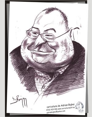 Caricatura Victor Mocanu, senator, Buzau