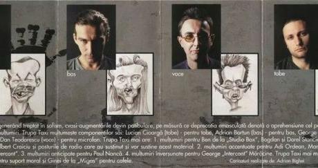 Caricaturi pe coperta albumului trupei Taxi