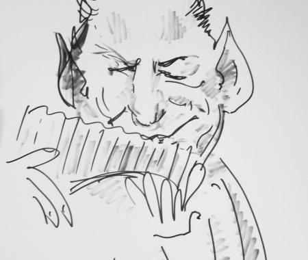 Caricatura sketch Gheorghe Zamfir