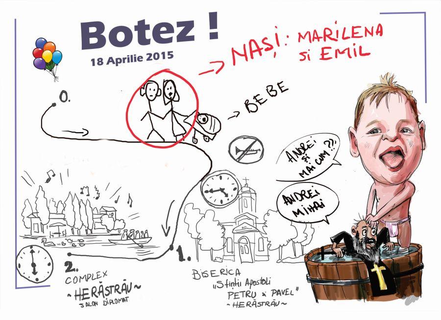 Model Invitatie Botez Caricaturist Adrian Bighei