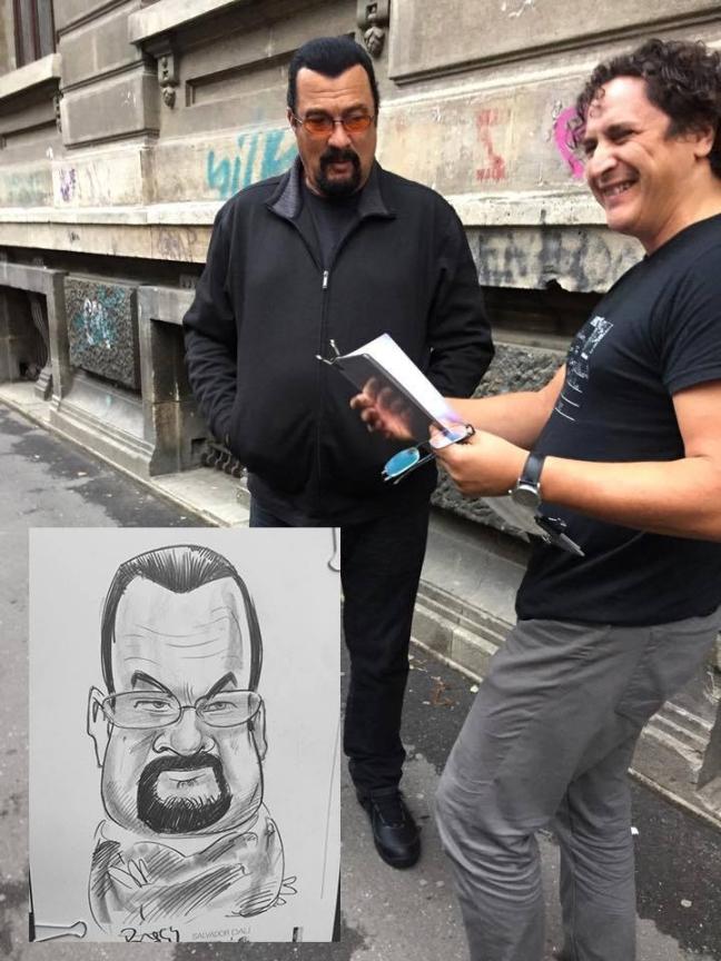Caricatura actorului Steven Seagal by Caricaturasunt.eu