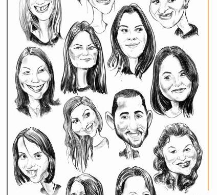Caricaturi de grup realizate la comanda dupa fotografie