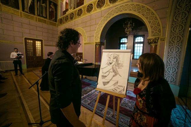 Expozitie Salvador Dali ,Palatul Cantacuzino, Busteni, Caricaturist Adrian Bighei
