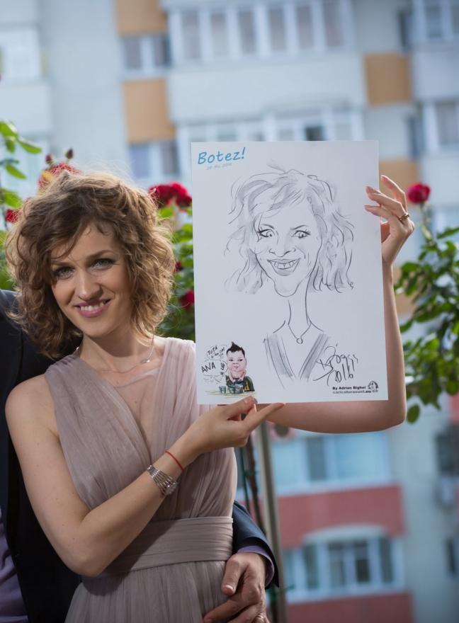 Caricaturist la botez de Adrian Bighei