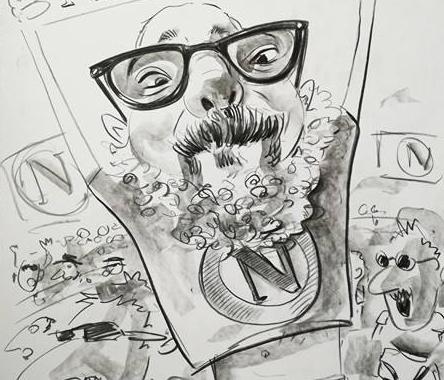 Caricatura alb negru personalizata