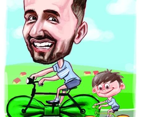 """Caricatura digitala personalizata """" tata si copilul"""""""