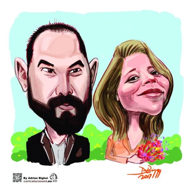 Caricatura -portret color fara background