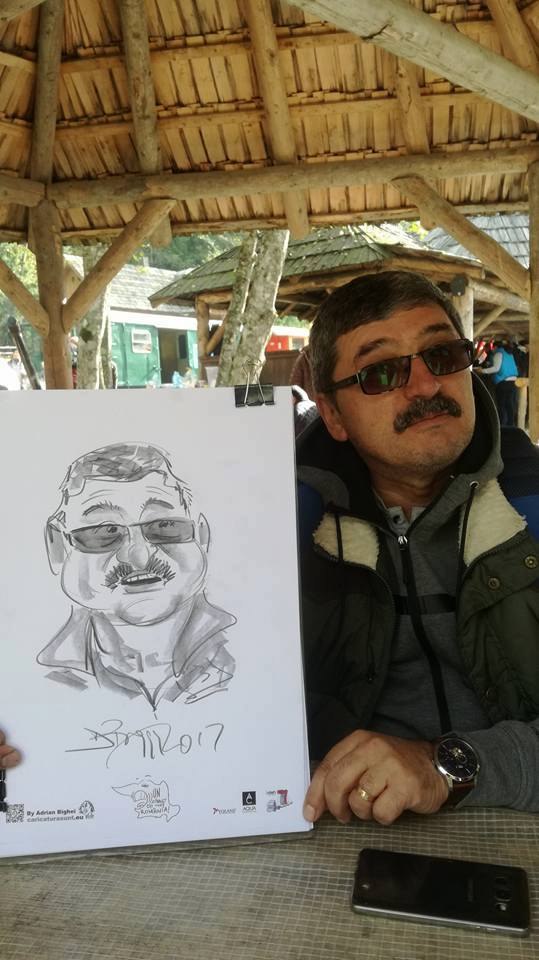 Caricaturi cu mocanita pe Valea Vaserului