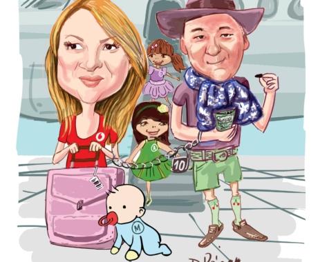 Idei de cadou -caricatura digitala pentru familie