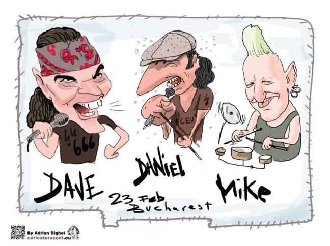 Daniel Ignat, Dave Evans si Mike Terrana , caricatura de Adrian Bighei
