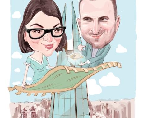 Caricatura personalizata de cuplu