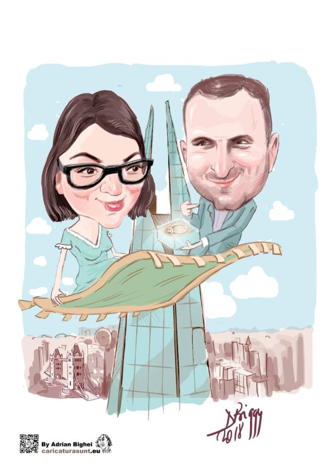 Caricatura personalizata de cuplu by Adrian Bighei