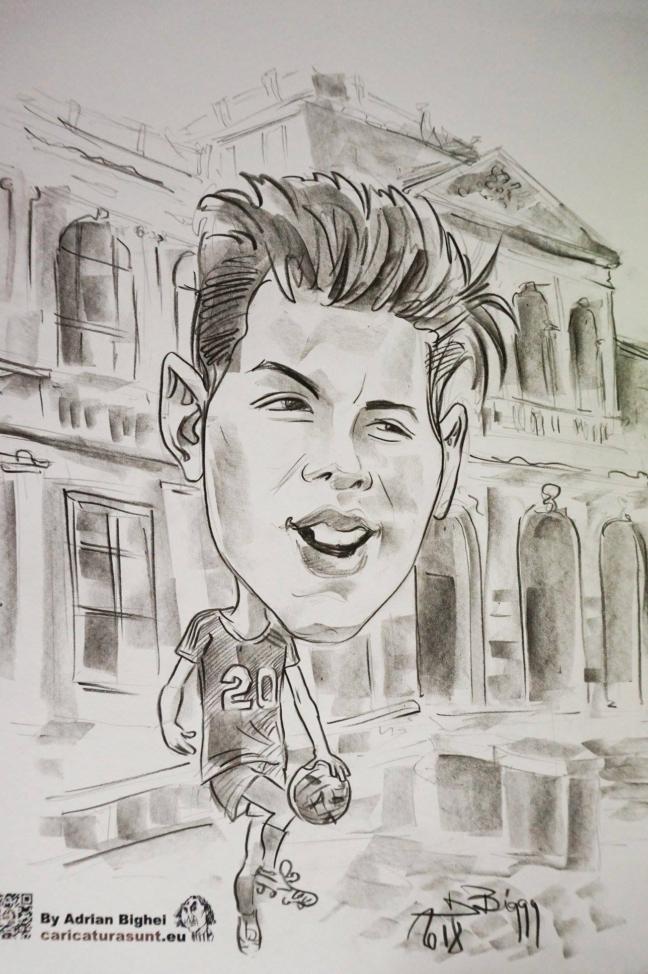 Caricatura alb- negru cadou de Adrian Bighei