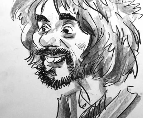 Caricatura alb-negru in creion