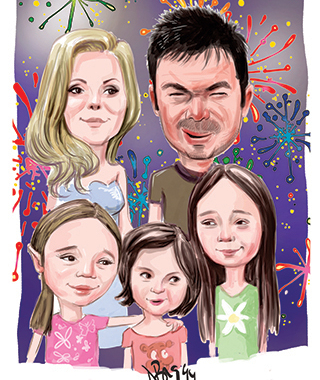 Caricatura color digitala de familie