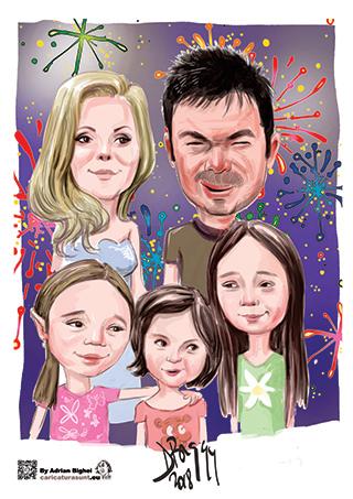 Caricatura personalizata familie by Adrian Bighei
