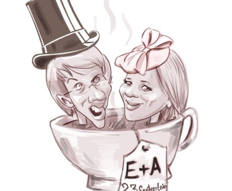 Caricatura cuplu  cu o tema data