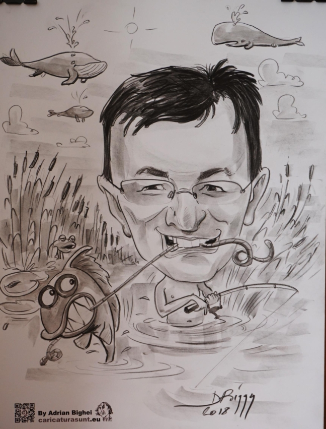 Caricatura alb negru cu tema de Adrian Bighei