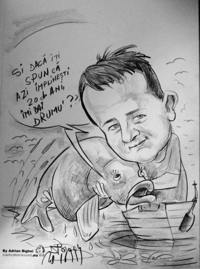 caricatura alb‑negru, cadoul ideal pentru sarbatori