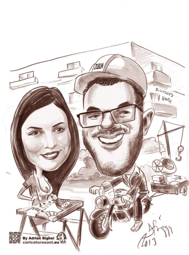 Caricatura cuplu, digitala, la comanda by Adrin Bighei