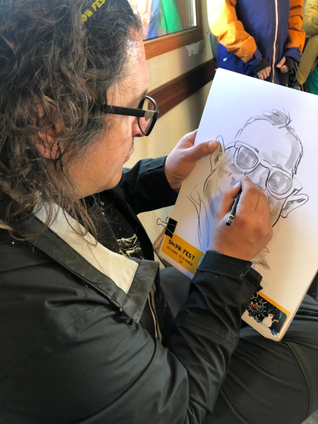 Caricaturist in creion - SnowFest, Franta