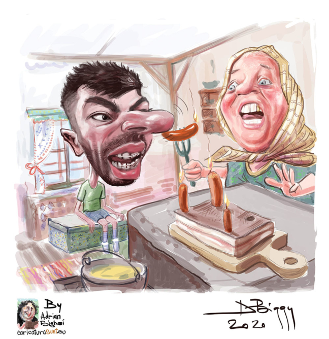 Caricatura Mircea Bravo by Adrian Bighei
