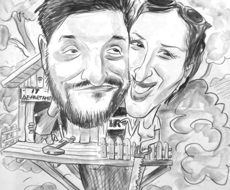 Caricatura in creion, cuplu