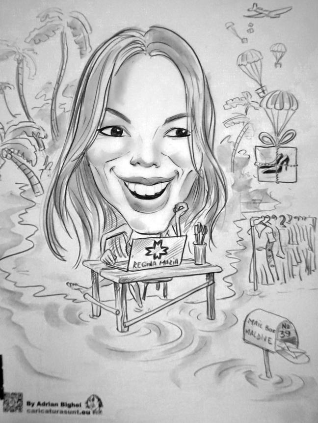 Caricatura - portret alb-negru realizata in creion