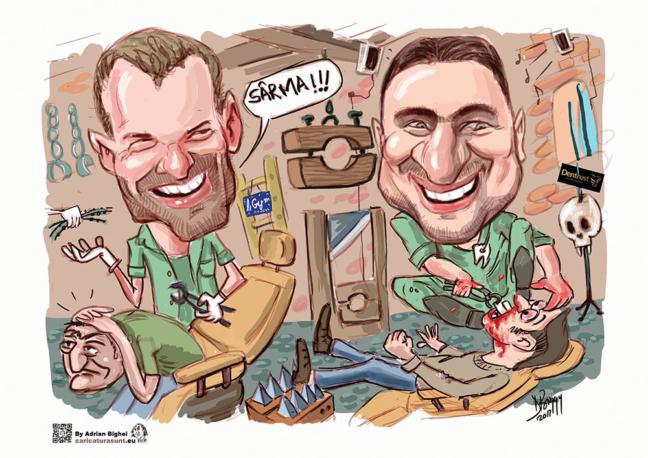 Caricatura color prieteni ortodonti