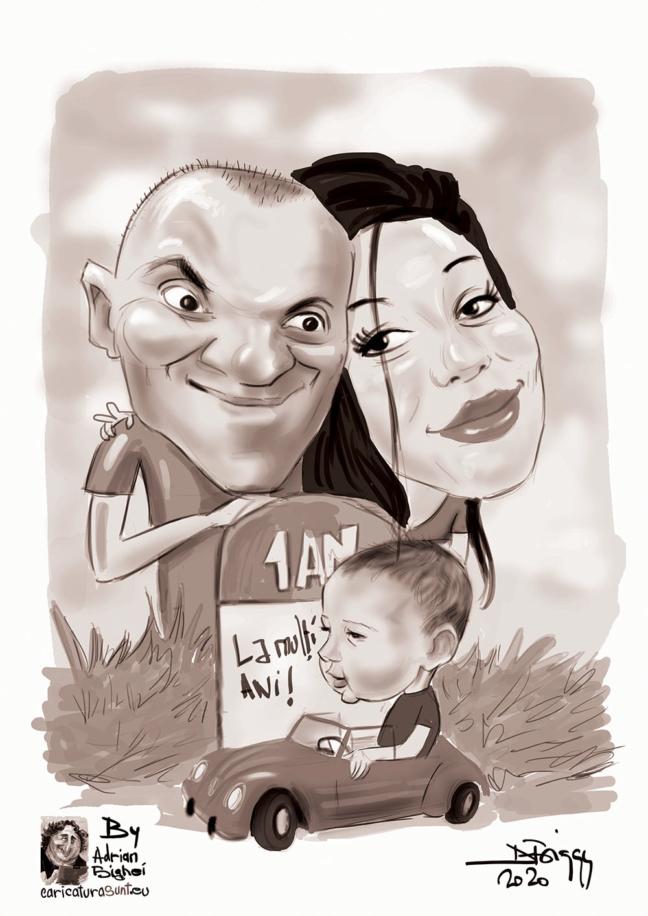 Caricaturi digitale alb-negru
