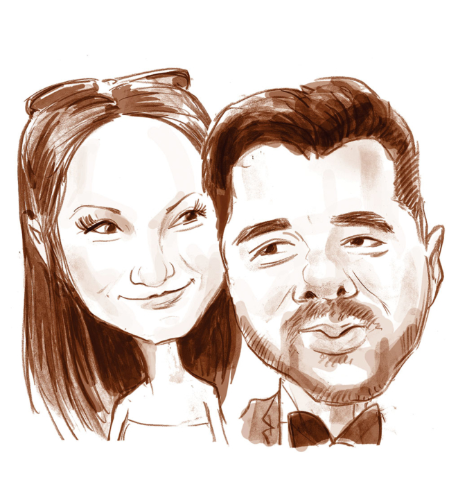 Caricatura portret alb- negru
