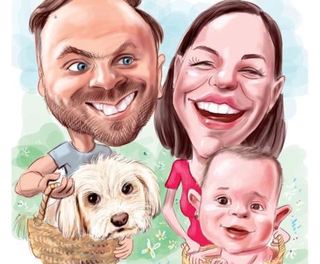 Cadoul perfect pentru intreaga familie – caricatura color personalizata