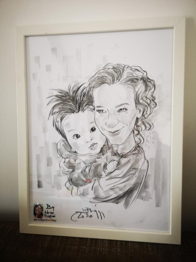 Caricatura in creion, mama si fiica