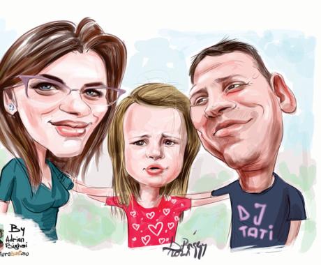 Caricatura de familie. Caricaturi la comanda