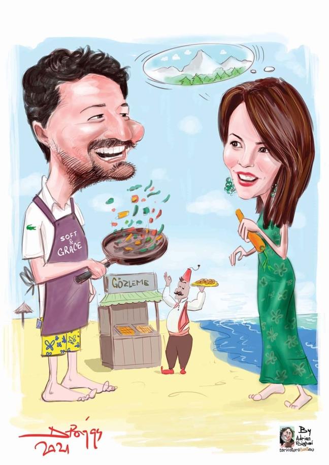 caricatura cuplu -cadou de nunta