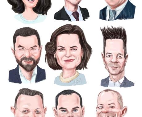 Caricatura digitala de grup