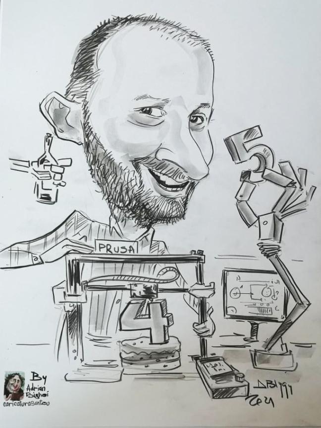 caricatura alb-negru creion