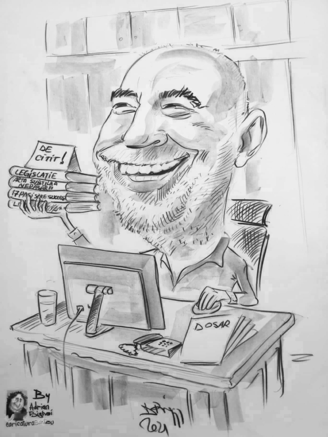 Caricatura alb-negru personalizata